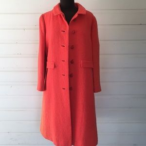 Vintage Bright Coral Wool Trench Coat Winter Fall